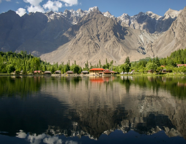 The Kachura Lakes are two lakes in the Skardu District of Gilgit-Baltistan, northern Pakistan. The lakes, at 2,500 metres in elevation, are Upper Kachura Lake and Lower Kachura Lake.