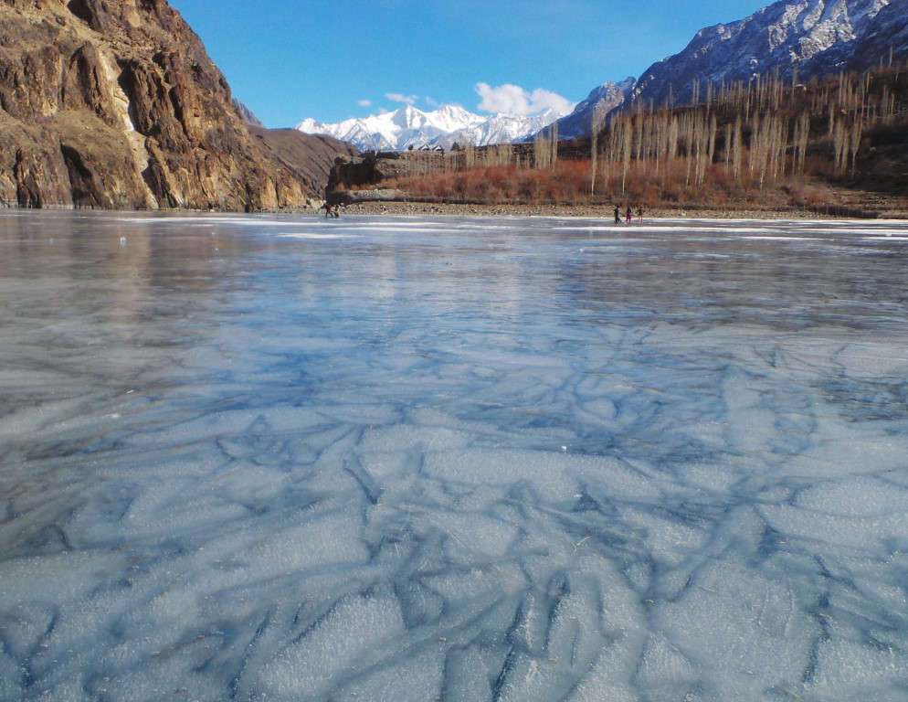 Khalti Lake is situated in the Tehsil Punial of Ghizer District, the westernmost part of the Gilgit–Baltistan region and northernmost territory of Pakistan. This lake is an important source of fresh water an has a stock of trout.