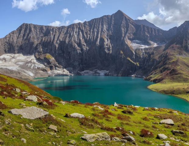 Ratti Gali Lake is an alpine glacial lake which is located in Neelum Valley, Azad Kashmir, Pakistan. The lake is located at an altitude of 12,130 feet. The lake is fed by the surrounding glacier waters of the mountains.