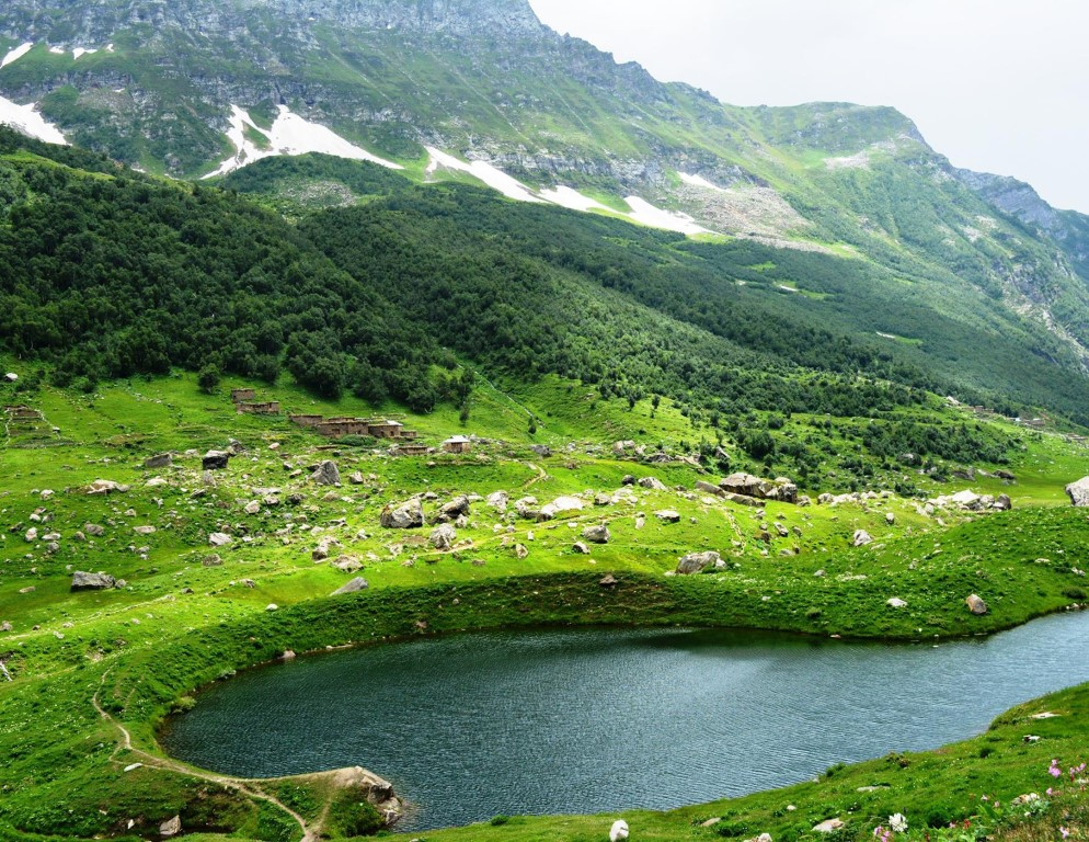 Shounter Lake is a scenic lake located in Shounter Valley, a sub valley of Neelam Valley, Azad Kashmir, Pakistan, at the elevation of 3,100 meters. The lake is fed by the surrounding mountains glacial waters.